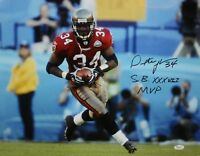 Dexter Jackson Autographed 16x20 Running With Ball Photo W/ SB MVP- JSA W Auth