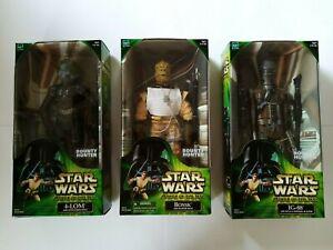 "Star Wars POTJ ESB Bounty Hunter 12"" Figure Set Bossk IG-88 4-LOM (2000)"