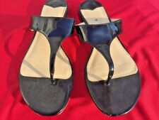 SALE @ J CREW Black Patent Leather Dress Flats Thongs Sandals Shoes Womens Sz 11