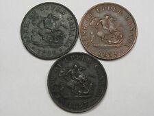 3 Canadian Half Penny Tokens: 1852, 1854 & 1857.  #21