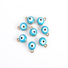 10pcs Blue Round Evil Eye Charms Pendants For Making Necklace Bracelet Jewelry