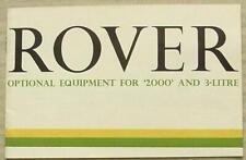 ROVER 2000 & 3 LITRE Car Optional Equipment Sales Brochure c1966 #686