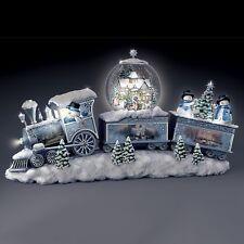 Thomas Kinkade Musical Snowman Train Christmas Sculpture Holiday Figurine NEW