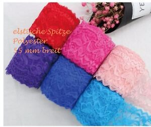 1-4 m  Spitze Polyester Spitzenband Lace elastisch Farbwahl Spitzenborte 5,5cm