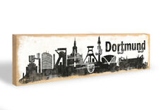 Holz Schlüsselbrett Dortmund Skyline + 5 Haken grau