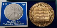 1979 Medallic Art Co. Bronze Calendar Medal W/Base in Box Corrosion on One Side