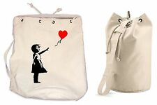 BANKSY GIRL WITH HEART BALLOONS DUFFLE BAG College Rucksack Gym Beach Balloon