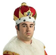 Kings Crown Mens Royalty Costume Royal Plush Hat Jeweld Red Fancy Dress King NEW