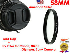 2 in 1 58MM LENS Cap + UV FILTER for Canon,Nikon,Sony,Olympus,Pentax,Panasonic