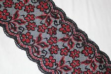 """1 yard Black Red floral lingerie sheer stretch sewing DIY trim lace 6"""" wide"""