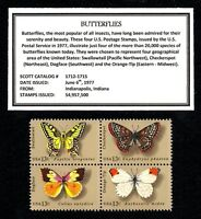 1977 - BUTTERFLIES - Mint NH (MNH) Block of Four Vintage U.S. Postage Stamps