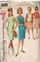 6086 Vintage Simplicity Sewing Pattern Misses Blouse Skirt Dress Jumper Top OOP