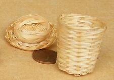 SCALA 1:12 Cesto biancheria in bambù con un coperchio Casa delle Bambole Accessorio di archiviazione ZF