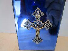 "Art Deco cobalt blue wall mirror plaque ornate filigree crucifix gold tone 4½"" H"
