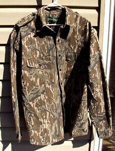 Vtg Men's GANDER MOUNTAIN Mossy Oak Camo Button Up Shirt ~ LARGE L Regular