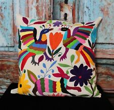 #15 Otomi Hand Embroidered Decorative Pillow Cover Bird & Bunny Mexican Folk Art