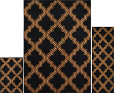Modern Trellis Geometric Black Brown 3 Pcs Area Rug Contemporary Runner Mat Set