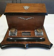 antique double glass inkwell on wood letter writing box stand