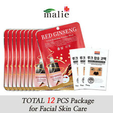 12pcs Red Ginseng Facial Mask Sheet Pack, Moisture Essence Skin Care Lots Korean