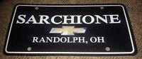 Vintage Chevrolet chevy Dealership License plate SARCHIONE Randolph Ohio ANTIQUE