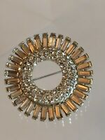 Vintage Hi End 1940's Rhodium Plated Clear Baguette Rhinestone Wreath Brooch Pin