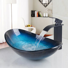 Oval Hand Paint Tempered Glass Bathroom Basin bowl Vessel Sink Waterfall Tap Set