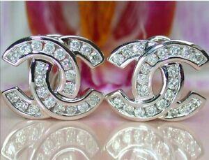 1Ct Round VVS1/D Diamond Omega Back Double C Stud Earrings 14K White Gold Finish