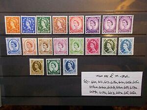 GB 1960 Wilding Stamps Set~(19) Multiple Crowns Phosphor~Unmounted Mint~UK