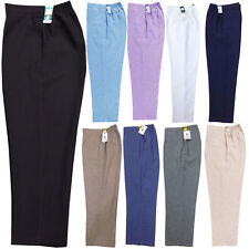 2 PACK WOMENS HALF ELASTICATED WAIST LADIES TROUSERS WITH POCKETS PLUS SIZES NEW