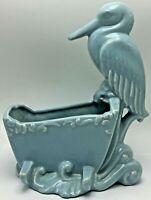 Royal Haeger Pottery Stork On Baby Cradle Blue Planter Storage Caddy