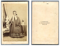 J. Perkins, Bath Une dame pose  CDV vintage albumen carte de visite,  Tirage a