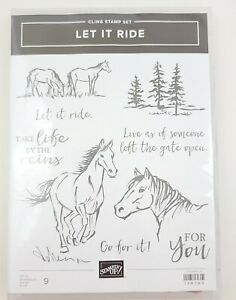 Stampin Up! Let it Ride Horses Running Free in Trees Cling Stamp *Unused*