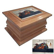 Wooden Cremation urn ashes casket Sports Motor Bike personalised oak adult urns