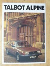 TALBOT Alpine 1980 UK MKT Opuscolo Vendite-CHRYSLER interesse
