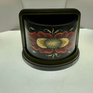 Hilde  Norsetter signed rosemaling vintage half round wooden utility container