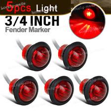 """5 Pairs 3/4"""" Trailer Side Marker Truck Light Chrome Bezel Rubber Grommet RED"""