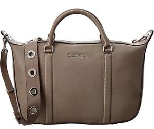 NWT $368 Michael Kors Raven Gray Leather Jet Set Satchel Crossbody Bag Large MK