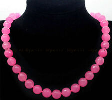 """FINE AAA FACETED 8MM PINK JADE ROUND GEMSTONE BEADS NECKLACE 18"""""""