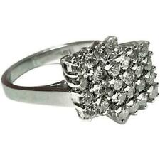 925 Sterling Silver Women's Ring Basket 3 Dimensional Quadrilateral Cz Setting