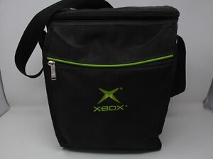 Original Microsoft Xbox Console Black Green Carrying Case With Strap Clean