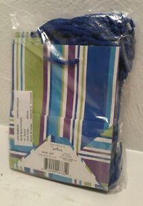 "New Hallmark Small Blue Multi-Stripe  gift bags  6"" x 5"" x 3"" Lot of 16 bags"