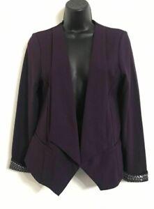 Ex WALLIS Purple Waterfall Embellished Cuff Blazer Party Wedding Jacket 10-18