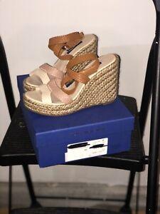New Stuart Weitzman Sandals Size 8 Elsie Espadrille Wedge Ankle Strap Beige Tan