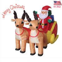 US! Christmas LED Inflatable Air Blown Yard Decor Santa On Sleigh with Reindeer
