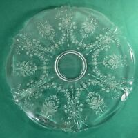 "Vtg Large 1940-50's? Etched IRIS flower Pattern 15"" Cake Round Serving Platter"