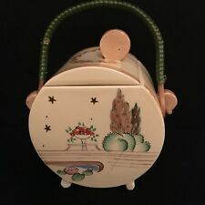 Lovely Clarice Cliff Lidded Stamford Biscuit Barrel with damage