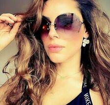 "OVERSIZED Big "" RIMLESS""  Gradient Lens Women Sunglasses  SHADZ GAFAS"