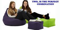 Highback Beanbag and matching footstool, Filled Bean bag set Combi Beanbags NEW