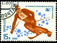 VINTAGE POSTAGE STAMP USSR SKIER SKI PHOTO ART PRINT POSTER PICTURE BMP1670A