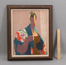 Antique FREDERICK BUCHHOLZ American Modernist Portrait Oil Painting, Old Lyme CT